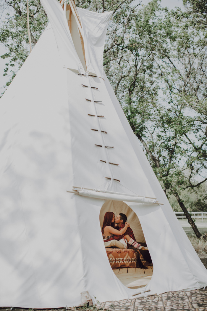 For the honeymoon, the couple stayed at an oversized teepee in one of the sacred parks