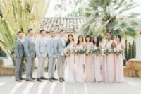 10 The bridesmaids were wearing blush and the groomsmen were wearing grey suits