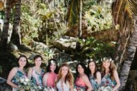 10 bold tropical print bridesmaids' dresses with side slits and bright coral maxi gowns with side slits for the maids of honor