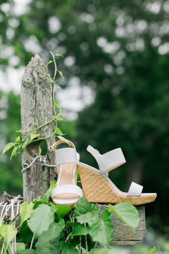 minimalist white wedding wedges with ankle straps and woven platforms can be worn in summer after the wedding, too
