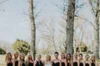 11 chic black spaghetti strap maxi bridesmaids' dresses and a halter embellished neckline maxi gown for the maid of honor