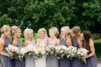 12 charcoal halter neckline maxi gowns and a grey embellished maxi dress with spaghetti straps for the maid of honor