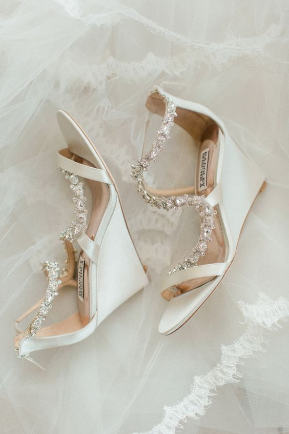white wedding wedges with embellished tops will give your outfit a glam feel
