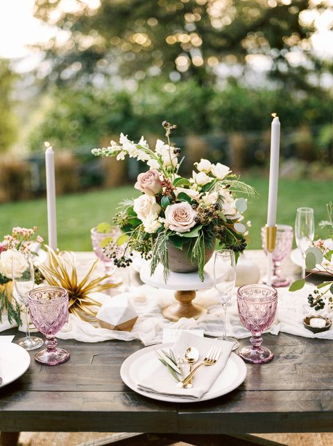 a lovely bridal shower tablescape done with neutrals, dusty pink, gold cutlery and geometric touches