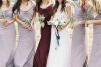 13 draped lilac maxi dresses with spaghetti straps and a matching dress of burgundy velvet for the maid of honor