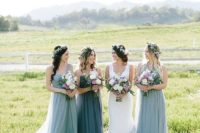 14 dove grey one shoulder maxi bridesmaid dresses and a slate grey matching gown for the maid of honor