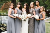 16 elegant grey maxi gowns with wide straps and draped bodices and a silver sequin maxi gown with short sleeves and a high neckline