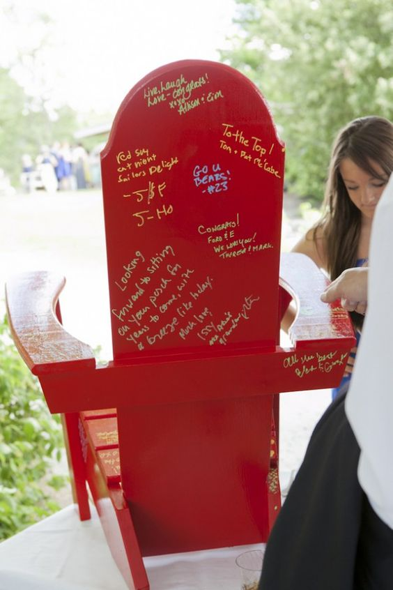 a colorful garden chair guest book is a fun and functional idea - it can be placed in your outdoor space after the wedding