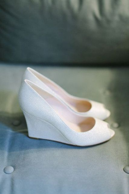 sparkly white peep toe wedding wedges are a chic and timeless idea with much comfort