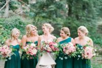 18 same emerald knee dresses and a one shoulder one for the maid of honor is a cool fall choice