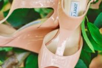 19 elegant lacquered pink wedding wedges with peep toes and ankle straps by Jimmy Choo