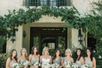 19 neutral full embellished bridesmaid dresses with spaghetti straps and a neutral dress with black embellishments and cap sleeves