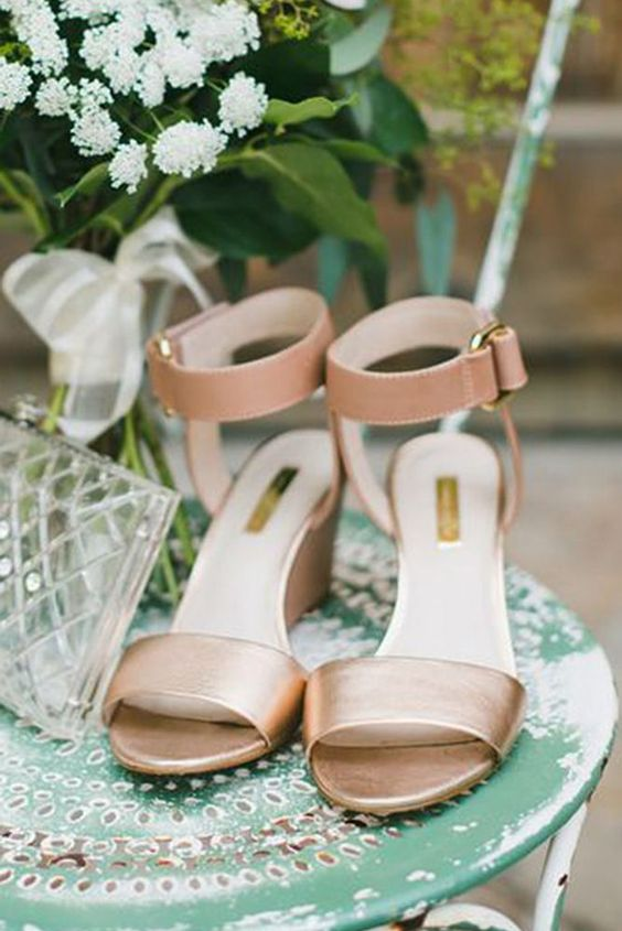gold and pink wedding wedges with ankle straps and buckles for a subtle touch of color