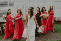 20 pink maxi bridesmaid dresses with halter necklines and front slits and a burgundy halter neckline maxi dress for the maid of honor