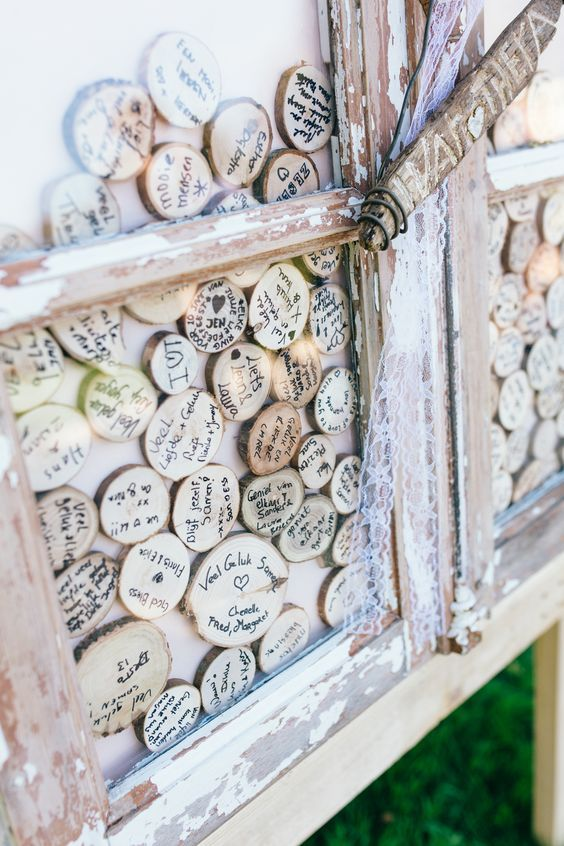 a shabby chic window with wood slices and lace is a very cute and easy DIY idea