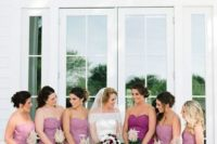 21 pink strapless maxi dress with pleated skirts and a purple matching gown for the maid of honor