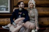 24 a sparkling wedding dress with a gold sequin bodice and a sheer skirt plus sneakers is a very off-the-grid option