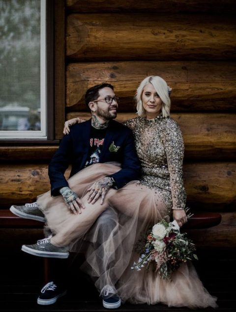 a sparkling wedding dress with a gold sequin bodice and a sheer skirt plus sneakers is a very off-the-grid option