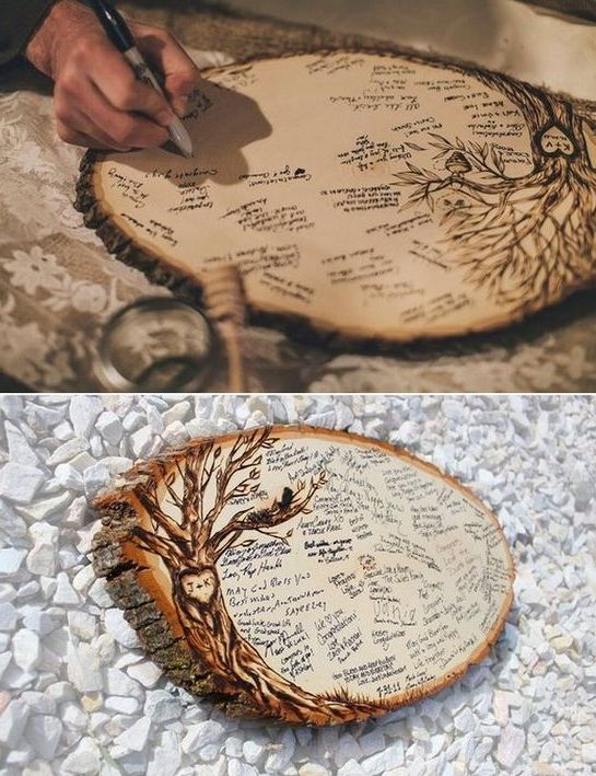 a wood slice wedding guest book with a burnt tree is a very cute idea and you may use it as an art piece