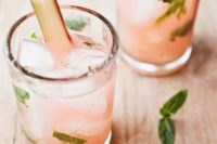 24 rhubarb mojitos is a sweet yeat tart take on traditional mojitos that in unexpected