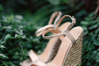 24 shiny metallic wedding wedges with thin straps and wicker platforms for a stylish and sexy look