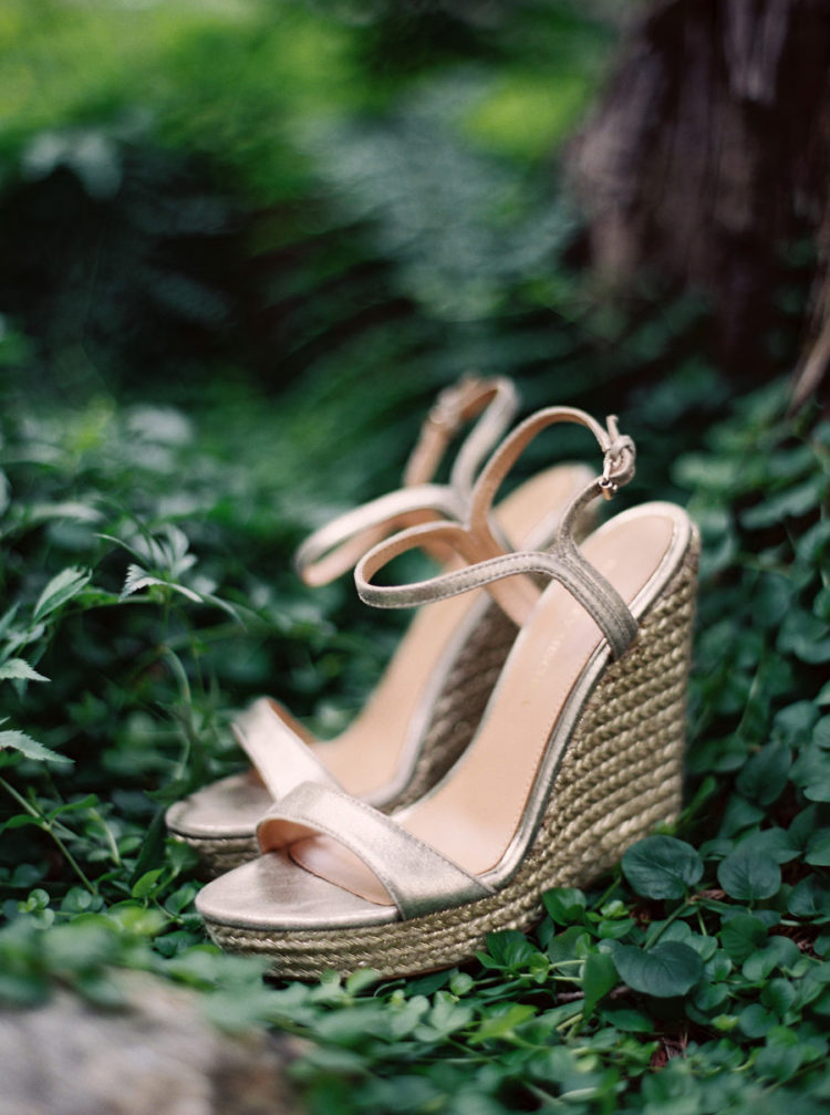 shiny metallic wedding wedges with thin straps and wicker platforms for a stylish and sexy look