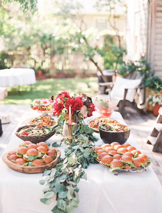 style a buffet to feed the guests as a backyard shower is usually more casual