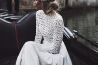 25 a modern wedding separate with a crochet lace top with a turtleneck and long sleeves and a pleated maxi skirt