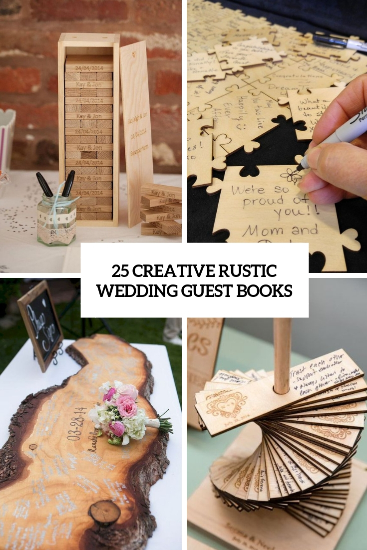creative rustic wedding guest books cover