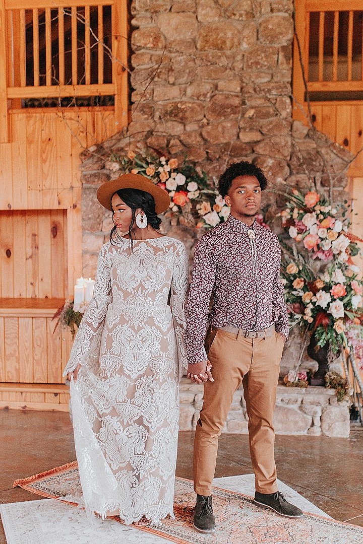 This boho wedding shoot was done in earthy tones, with various prints and beautiful details