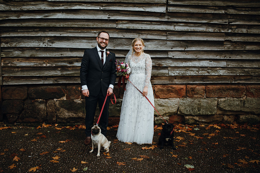 This couple went for a bright and fun Mexican inspired wedding with their pugs on a rainy and wet English day