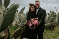 01 This moody wedding took place in Cape Town and was moody, yet done with bright orchids and other bright blooms