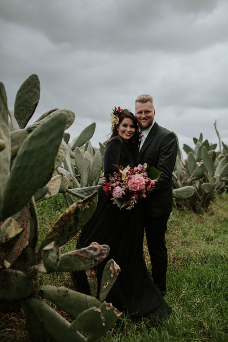 This moody wedding took place in Cape Town and was moody, yet done with bright orchids and other bright blooms