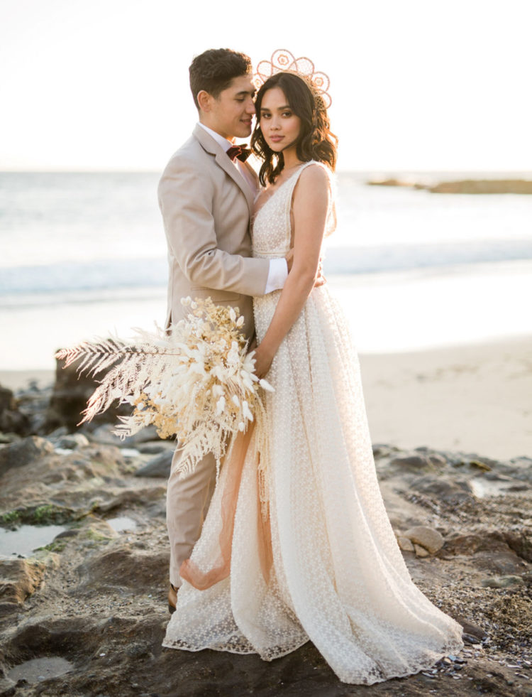 Boho Chic Coastal Wedding With Dried Florals