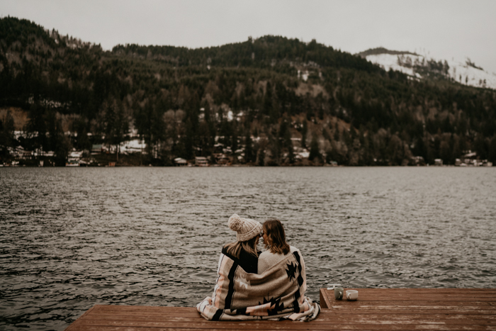 The couple went for a walk by the lake first, they were wearing casual outfits
