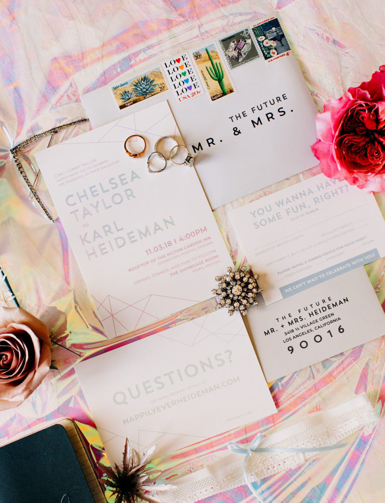 The geometric wedding stationery hinted on touches of mid-century modern and bright colors