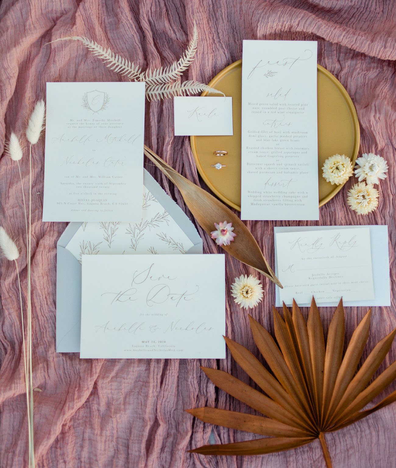 The wedding invitation suite was neutral, with calligraphy and perfectly featured breezy vibes of the day