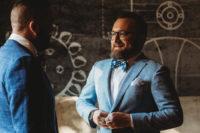 both grooms wearing elegant bow ties