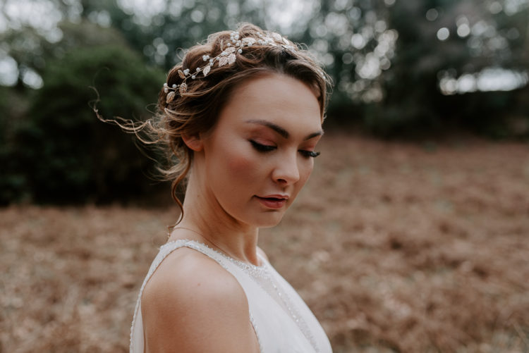 She was also wearing a beautiful jeweled headpiece with beads and leaves