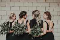 03 The bridesmaids were wearing mismatching black maxi dresses