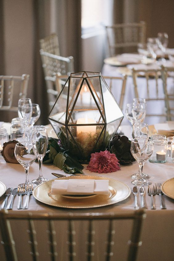 a terrarium is another cool option to create a centerpiece for your wedding, bring some from home