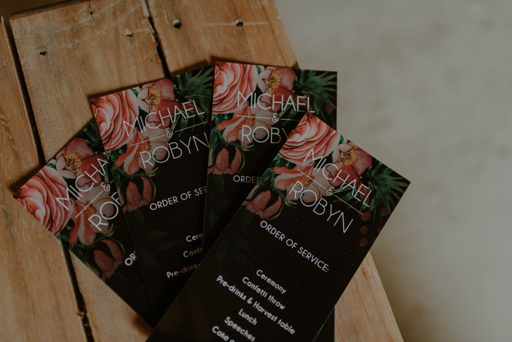 The floral wedding stationery was created by a friend of the family