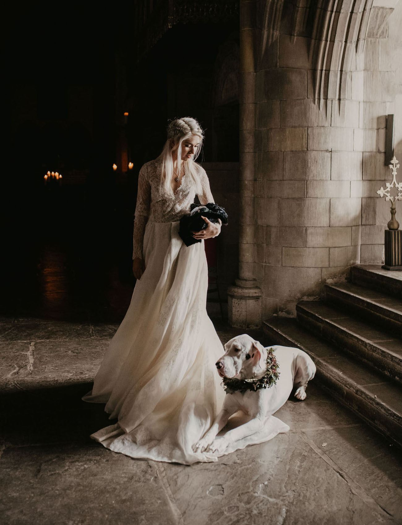 The bride with a dragon egg and a large dog by her instead of dragons