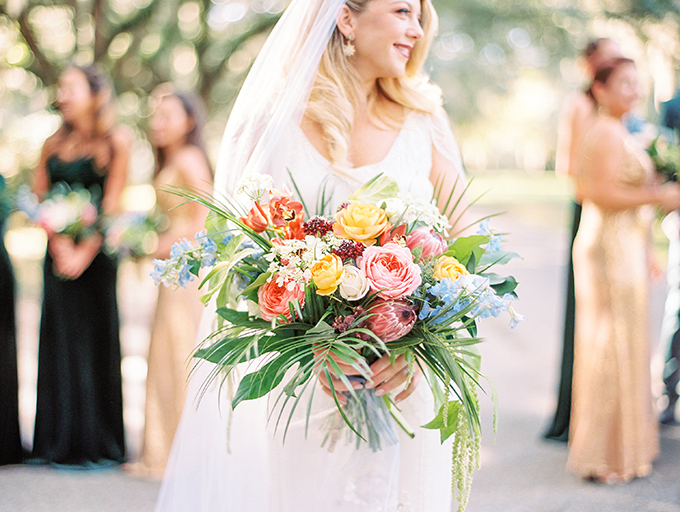 The wedding bouquet was a bright one with much texture achieved with lots of greenery