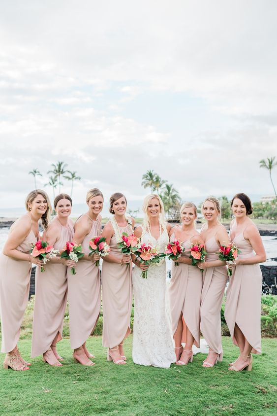 blush high low bridesmaid dresses with halter necklines and spaghetti straps are a comfy option
