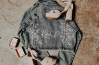 06 A personalized denim jacket and block heels for the bride on her big day