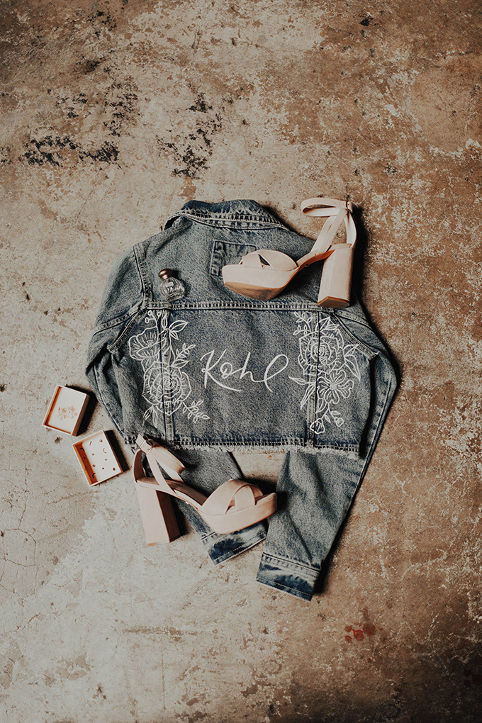 A personalized denim jacket and block heels for the bride on her big day