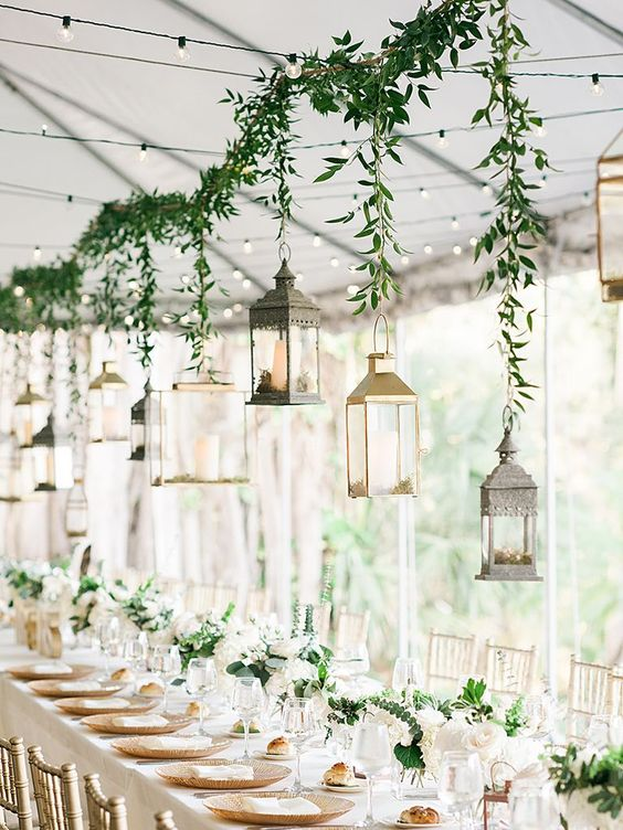 some candle lanterns can be hung over the reception   bring them from home and you won't pay for that