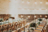long wooden tables for a wedding