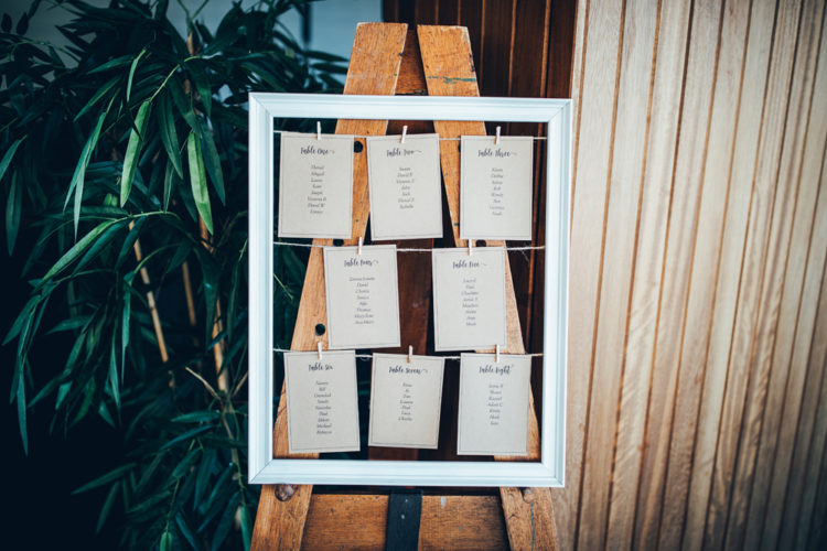 The wedding seating chart was a simple framed one